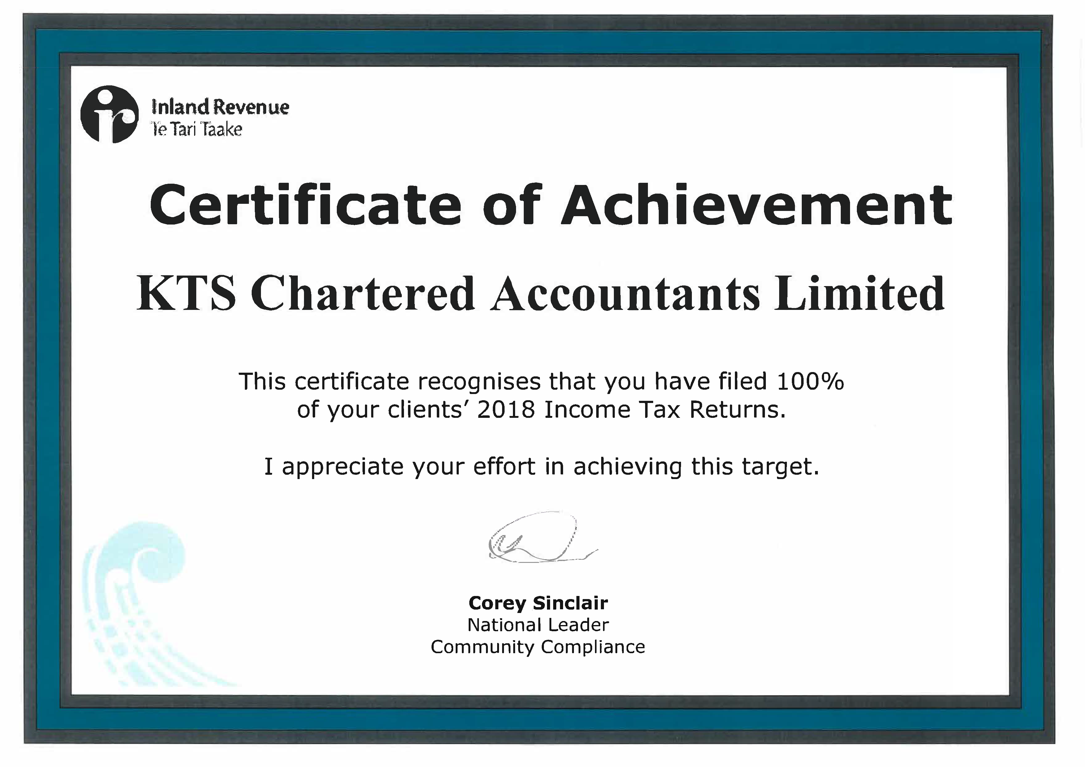 CERTIFICATE OF ACHIEVEMENT FROM IRD - KTS Chartered Accountants